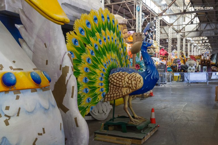 A peacock and other figures created at Mardi Gras World