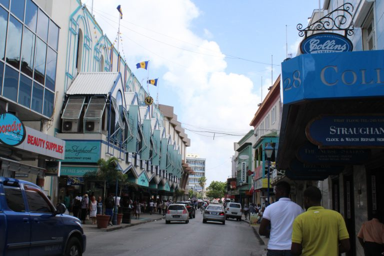 Narrow Streets filled with cars and pedestrians in Bridgetown Barbados